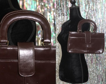 Genuine Leather Burgundy Doctors Handbag Purse *Excellent Condition