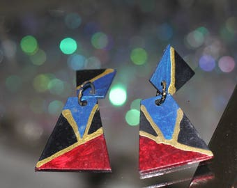 90's Multi Color Square Earrings