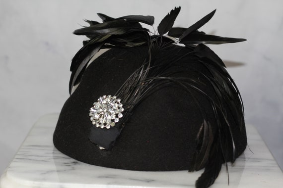 Wool Black Feathered Pill Box Hat (8+)