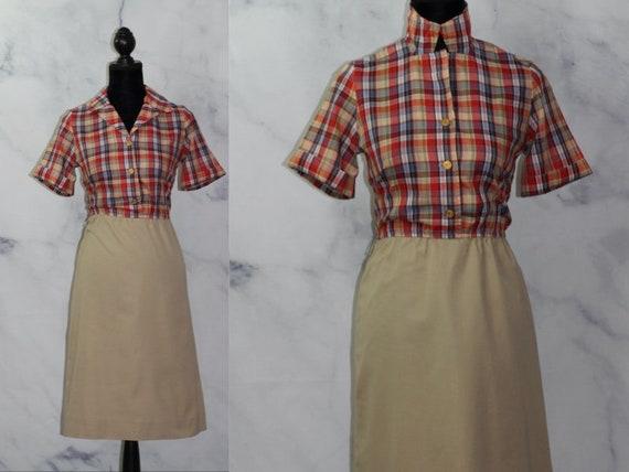 Toni Todd Brown Red Brown Knee Length Shirt Dress