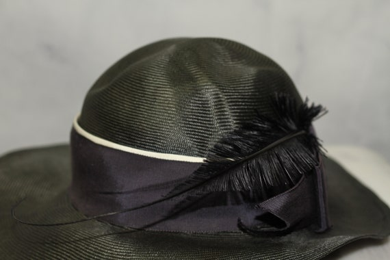 ADOLFO Green Wide Brim Feathered Hat (8) - image 3