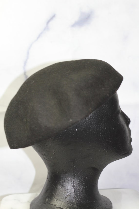 Black Wool Beret Hat with Rose Sequin (8) - image 4