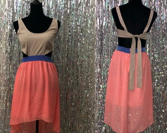 90's Multi Color Silk Halter Dress (S)
