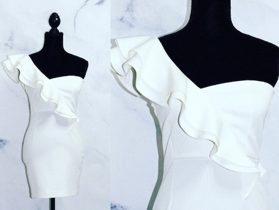 90's One Shoulder Ruffle Dress (s)
