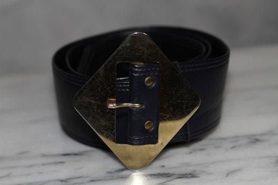 Dark Blue Leather Belt w/ Gold Belt Buckle - image 7