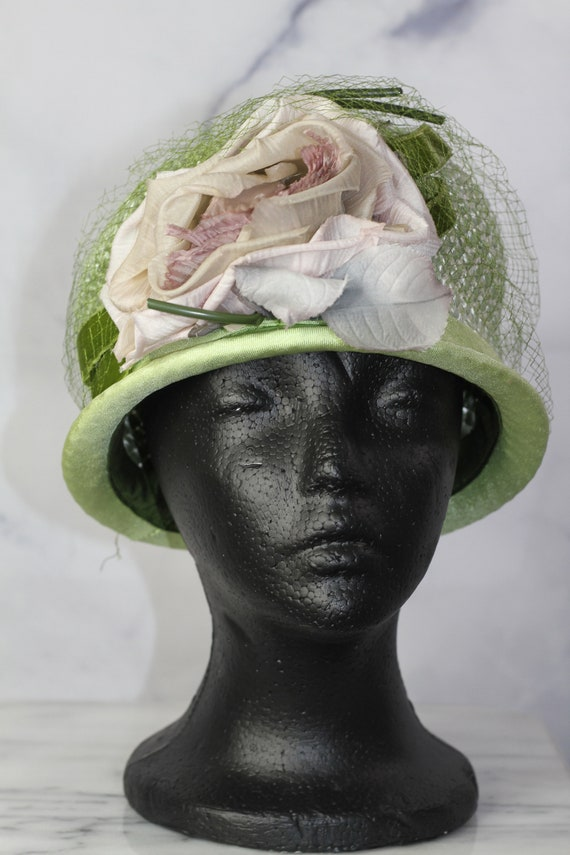 Round Pink & Green Net Pill Box Hat (8)