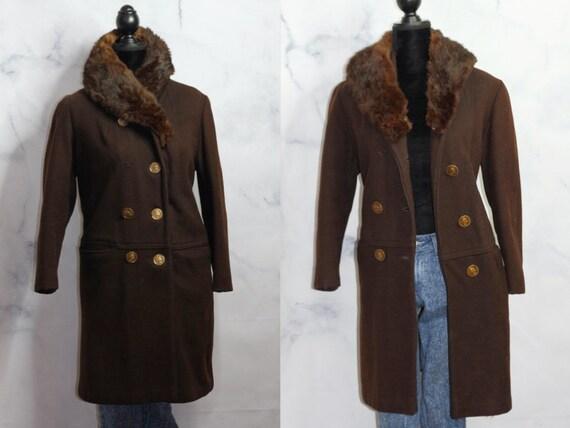 Roma XXVll Brown Wool Fur Collar Trim Trench Coat