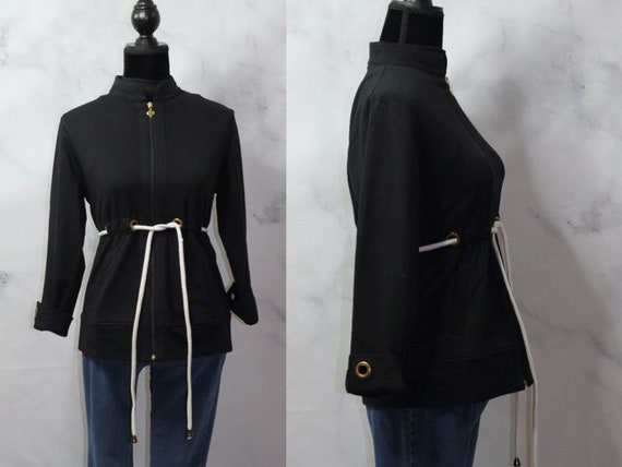 PS *Excellent Condition 90/'s Black Jacket with White Draw String Gold Accent