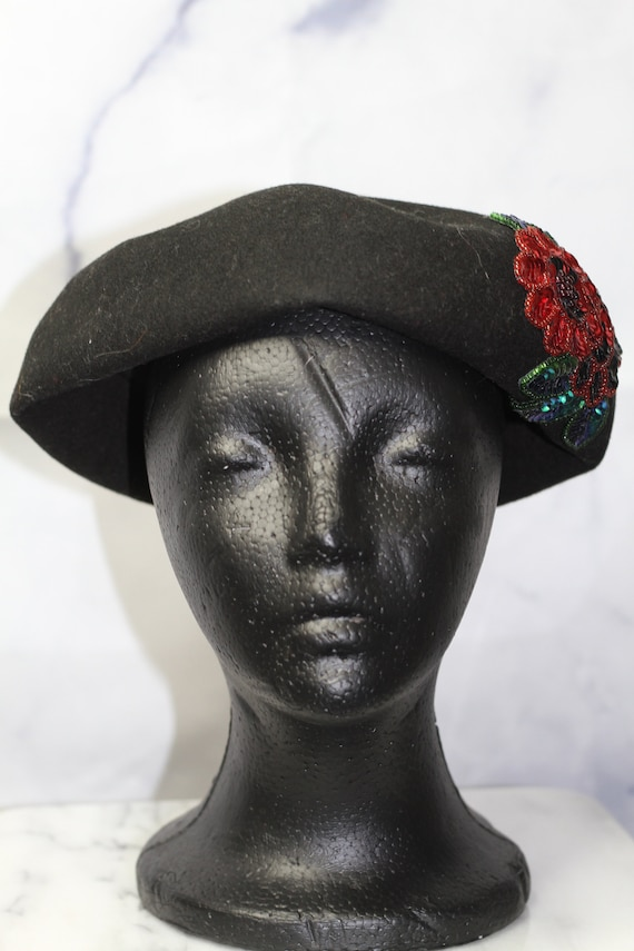 Black Wool Beret Hat with Rose Sequin (8) - image 6
