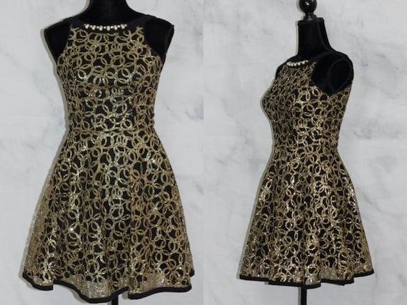Handmade Black & Gold Mini Dress (xs)