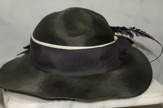 ADOLFO Green Wide Brim Feathered Hat (8) - image 2