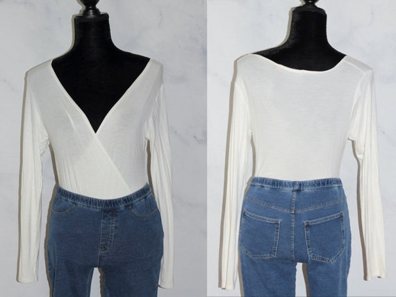 White Long Sleeve Unitard Top (s)