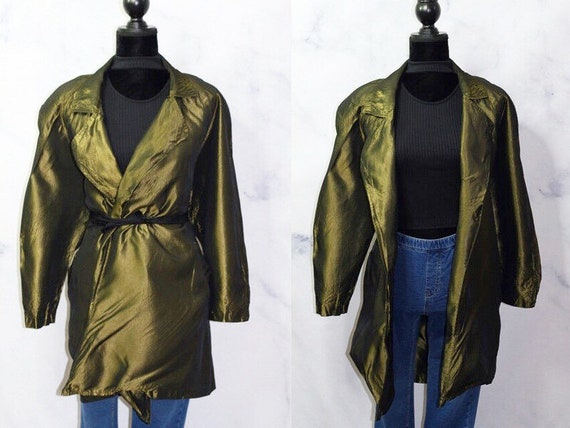 Green Iridescent Trench Coat Rain Coat (S)