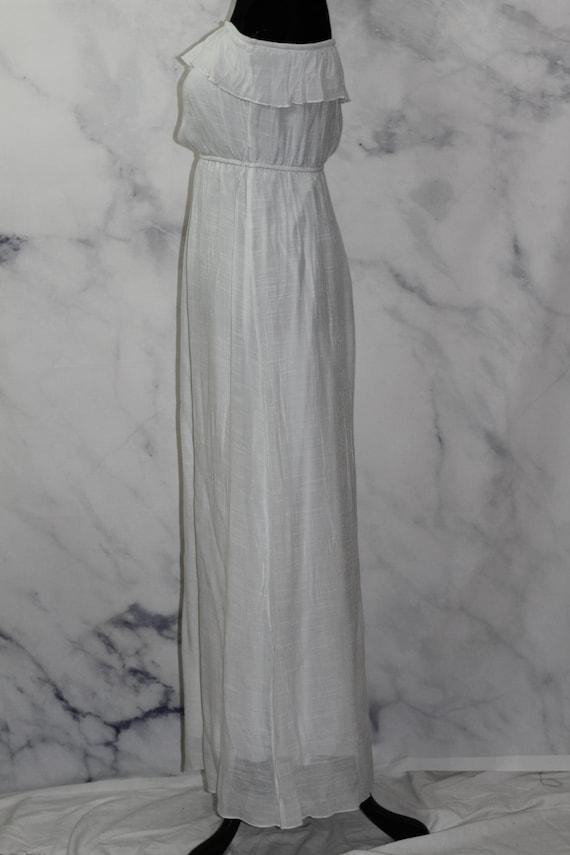 90's White Ruffle Top Maxi Dress (L) - image 9