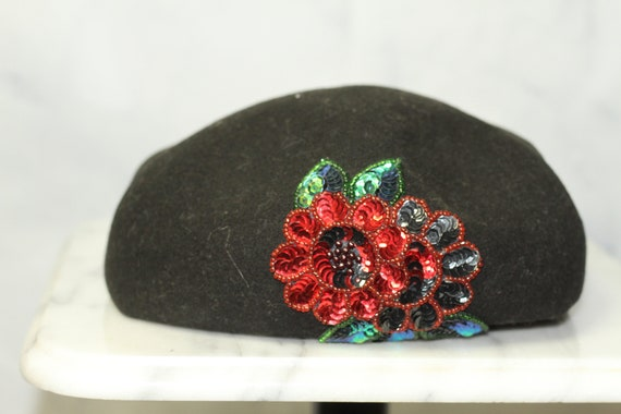 Black Wool Beret Hat with Rose Sequin (8) - image 1