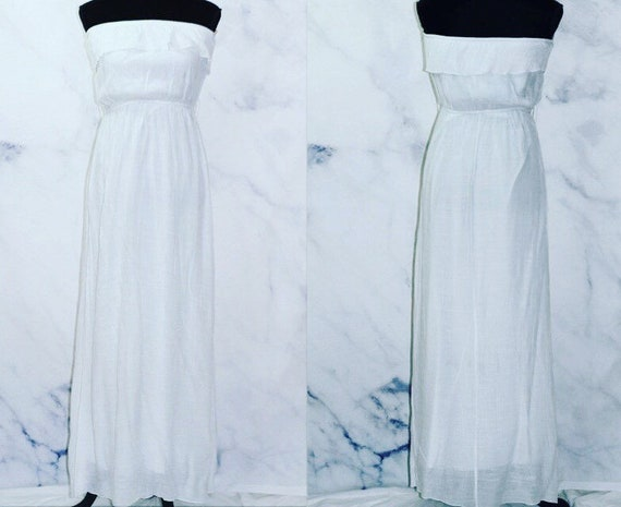 90's White Ruffle Top Maxi Dress (L)