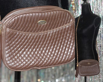 Koschi Brown Quilted Leather Handbag Purse *Excellent Condition