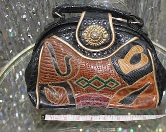 80's Tribal Aztec Print Leather Handbag Purse *Excellent Condition