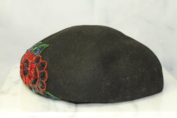 Black Wool Beret Hat with Rose Sequin (8) - image 7
