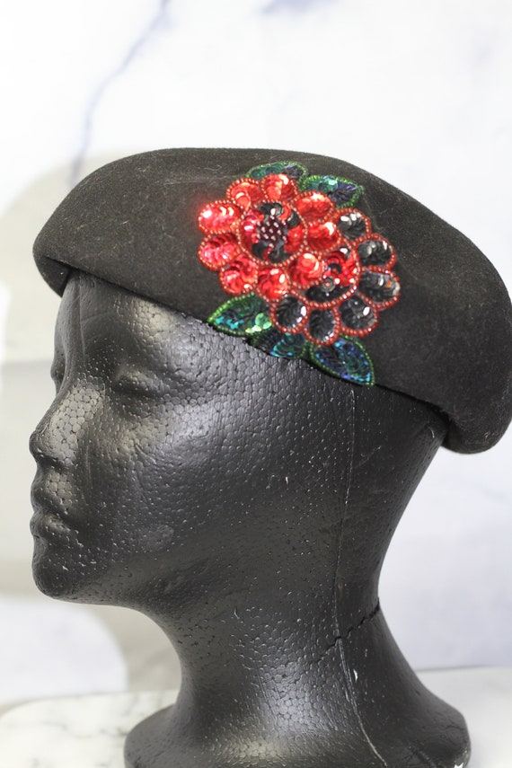 Black Wool Beret Hat with Rose Sequin (8) - image 3