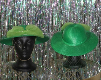 Green Fedora Wide Brim Hat with Lace Bow & Beads *Excellent Condition