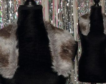 Grey & Black Faux Fur Stole WrapScarf