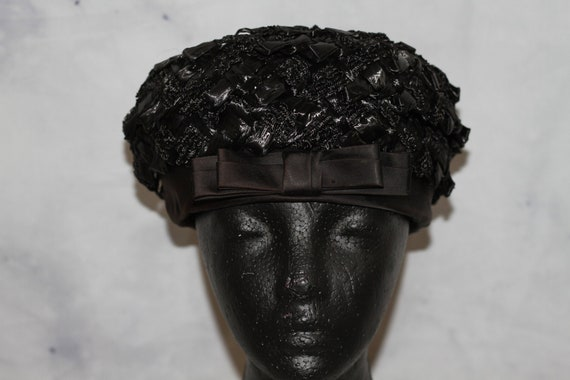 Black Straw Pill Box Hat (8)