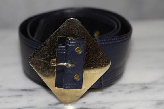 Dark Blue Leather Belt w/ Gold Belt Buckle - image 2