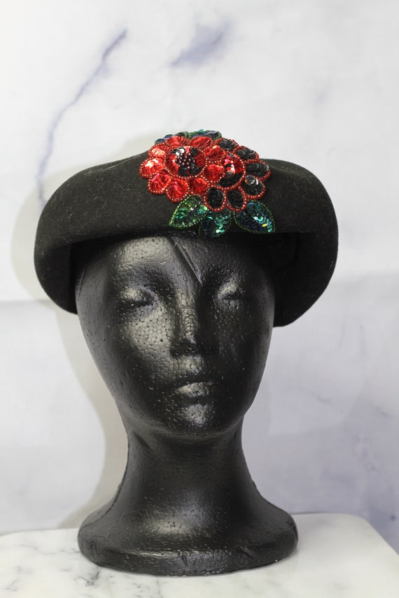 Black Wool Beret Hat with Rose Sequin (8) - image 2