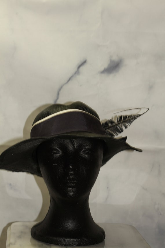 ADOLFO Green Wide Brim Feathered Hat (8) - image 4