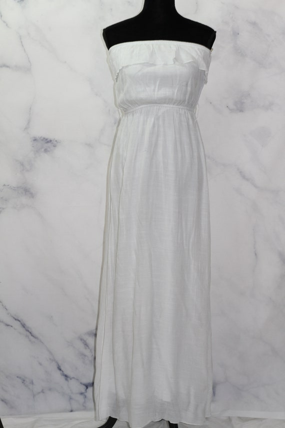 90's White Ruffle Top Maxi Dress (L) - image 8
