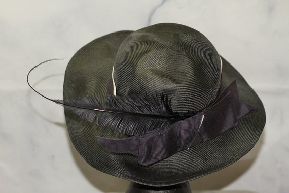 ADOLFO Green Wide Brim Feathered Hat (8) - image 7