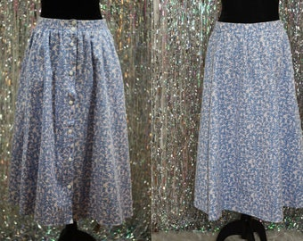 80's Monerey Canyon Pink & Blue Floral Skirt (16)