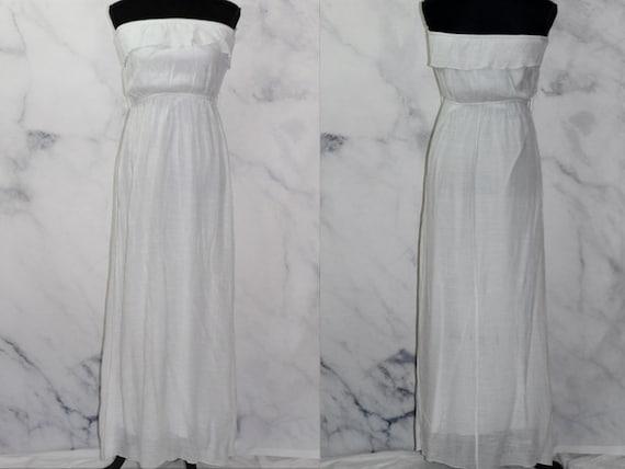 90's White Ruffle Top Maxi Dress (L) - image 2