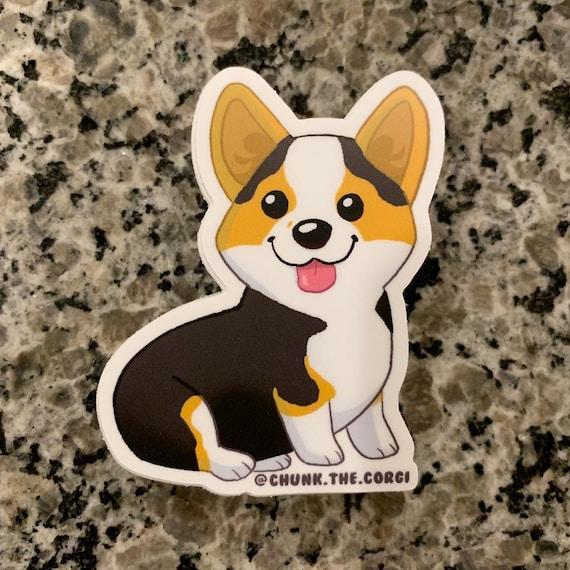 Chunk The Corgi Sticker, Sticker, Die Cut