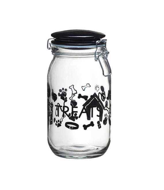 "Pet Lifestyle ""Treats"" 50 oz. Dog Treat Jar, Black"