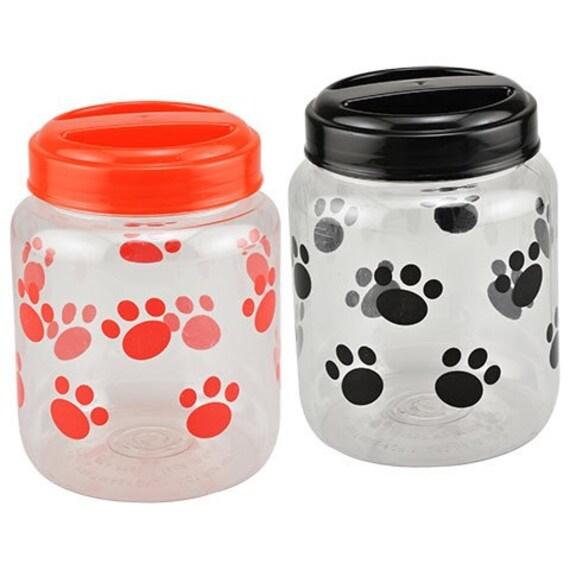 Bones & Paw Print 35.5 oz. Plastic Dog Treat Jar, Black or Red