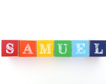 Wooden blocks with letters, Personalised baby blocks, Name blocks, rainbow nursery name sign
