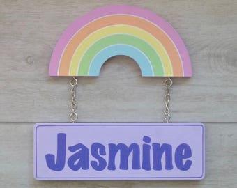 Door sign, Rainbow decor, Kids room sign, Custom name sign, Kids name sign - rainbow nursery decor