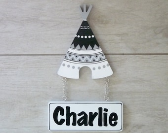 Door sign for kids, Wooden name sign, Baby name sign - Tribal Teepee