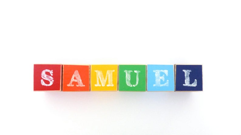 Wooden blocks with letters Personalised baby blocks Name image 0