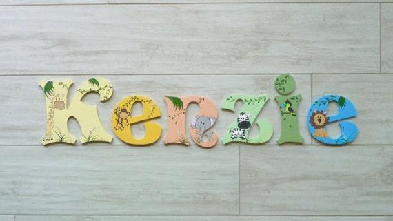 Holzbuchstaben, Buchstaben für Kinderzimmer, Baby name Zeichen - Dschungel