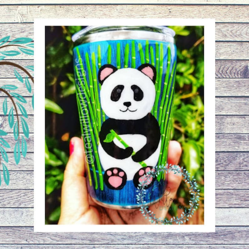 Hand painted Panda with Bamboo Tumbler image 0
