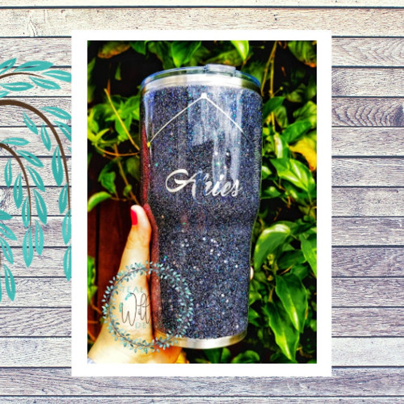 Constellation/Astrological Sign Glitter Tumbler image 0
