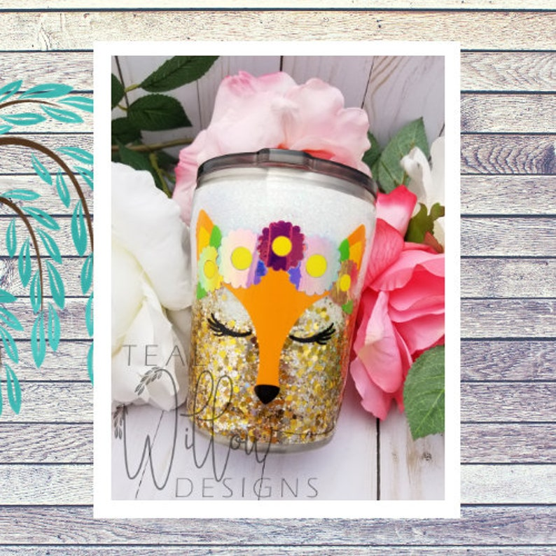 Floral Crown Fox Glitter Tumbler image 0