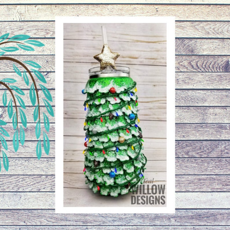Christmas Tree Glitter Tumbler with Working Christmas Lights image 0