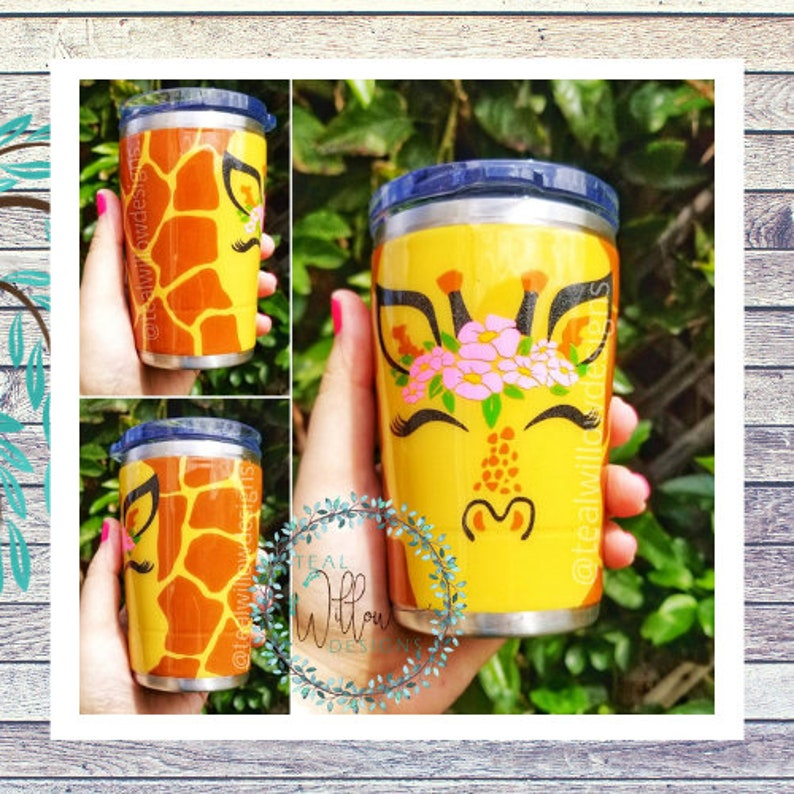 Cute Giraffe With Floral Crown Tumbler image 0