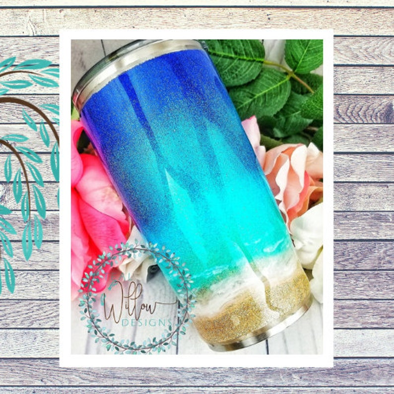 Ocean/Beach Glitter Tumbler image 0