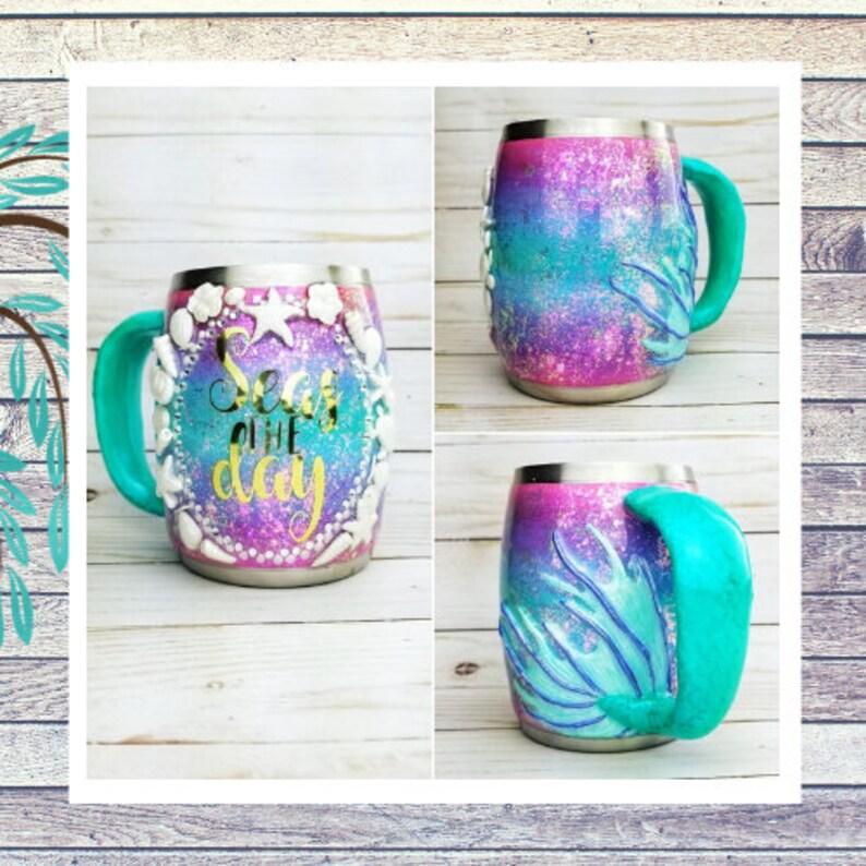 Mermaid tail and Seashells Iridescent Coffee Mug image 0