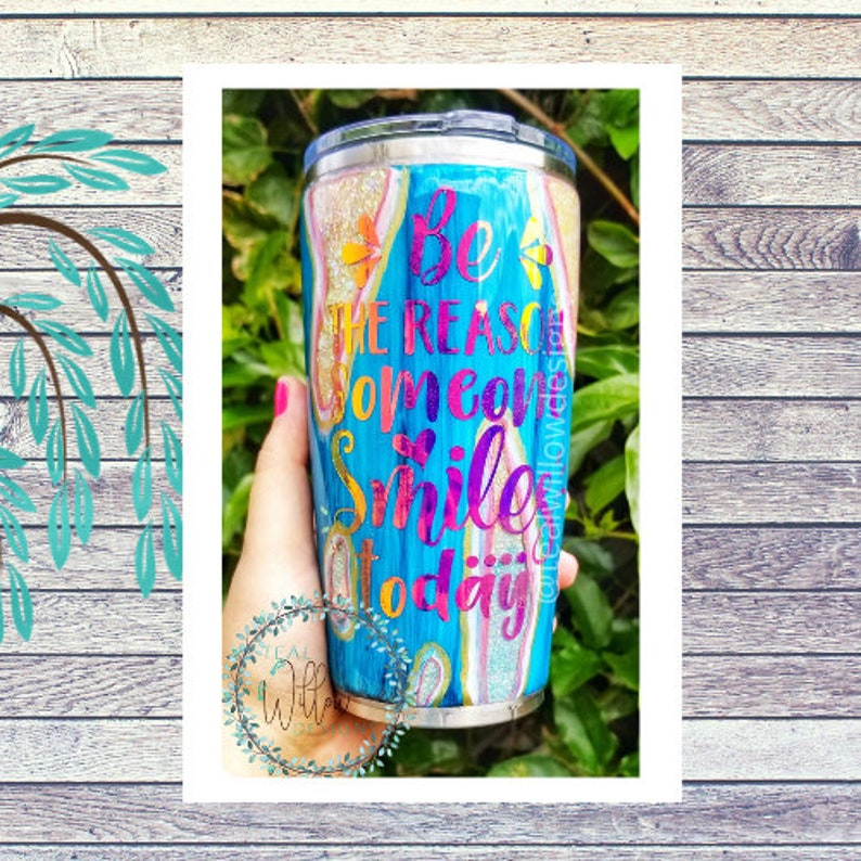 Be The Reason Someone Smiles Today Glitter Tumbler image 0